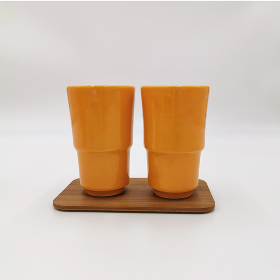 Set De 2 Tasse Hautes En Ceramique Fait Main Couleur Orange